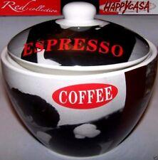 BISCOTTIERA HAPPY CASA Contenitore Coffee Ceramica Bianco Nero Rosso Vintage '60