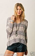 NEW Free People gray & pink Soft Oversized Stripe Furry Pullover Sweater S
