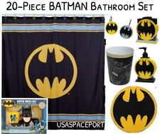 20pc BATMAN BATH SET Shower Curtain+Hooks+Rug+Pump+Toothbrush Holder+