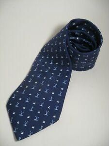 HERMES TIE Silk Necktie Men's Blue WHIMSICAL RABBITS Pattern 5243