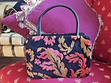 Vintage DOVA Floral Velvet CARPET BAG Raised CUT VELVET HANDBAG PURSE