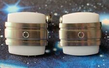 VINTAGE MONTBLANC SQUARE CUFFLINKS IN BRUSHED STAINLESS STEEL WITH WHITE AGATE