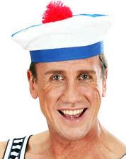 BERET BACHI MARIN BLANC tissu POMPOM ROUGE Déguisement Adulte Homme Costume LG