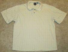 Pebble Beach Size L Yellow w Check Pattern Short Sleeve Polo Shirt EUC Mens