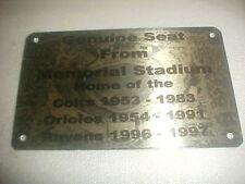 BALTIMORE MEMORIAL   Stadium seat PLAQUE