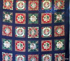 Joan Kessler Christmas Concord Cotton fabric panel blocks cherub angel metallic