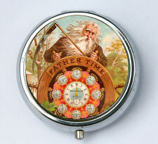 Father Time pill case pillbox holder pill boxes old bearded man clocks vintage