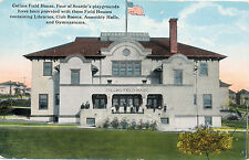 c1912  Collins Field House, Seattle, WA Hand Tinted Postcard, US Flag