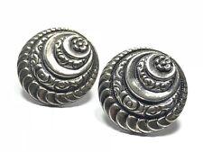 Unique Ladies Sterling Silver Floral Crest Design Screwback Earrings