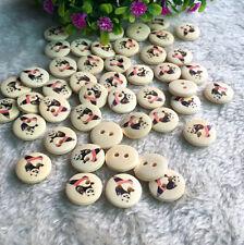 100pcs Wood Button Round 15mm Kungfu Panda 2 Holes Scrapbooking DIY Sewing Craft