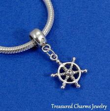 .925 Sterling Silver Nautical SHIP WHEEL EUROPEAN Dangle Bead CHARM *NEW*
