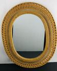 Wicker Rattan Oval Mirror 22.25 x 17.25 Vertical Or Horizontal Hang