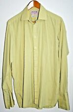 Pink Yellow Check Men's Shirt Superfine Two Fold Cotton Tailored in UK 16 / 36