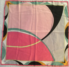 """AUTHENTIC Emilio Pucci 100% Silk Abstract Print Multi-Color Scarf, 22""""X22"""" AS IS"""