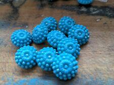 ♥Nr. 40- Tolle alte Glasknöpfe  Blumen petrolblau 18 mm 6 Stück♥