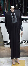 Full Length Modest Black Stretch Jersey Flowy Caftan EasyWear Dress Long Cuffs