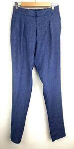 Ralph Lauren Purple Label Men's Linen Trouser Blue Size 30 Elastic Waist Italy