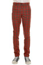 New 'Run & Fly' Men's Mod, 60's,Vintage  Slim Classic Red Tartan Retro Trousers