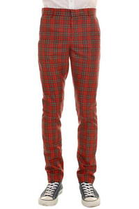 New 'Run & Fly' Men's Mod, 60's,Vintage  Slim Classic Red Tartan Retro Trousers