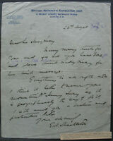 s2079) British Antarctic Expedition  Ernest Shackleton letter to Henry Lucy 1921
