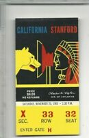 1965 ticket stub college football California Bears v Stanford Indians VG