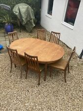More details for g plan vintage fresco oval extending dining table and 6 chairs victor wilkins