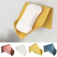 1PC Wall Mounted Self Adhesive Soap Dish Holder Bathroom Kitchen Soaps Box Rack