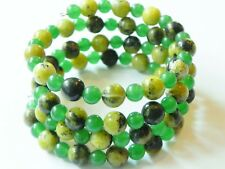 Jasper and green aventurine wrap/cuff gemstone memory wire bracelet, shades of g