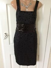 New With Tag Kate Fearnley Black Sequins/netting Dress Size 12 Hol 13/6 To 20/6