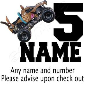 IRON TRANSFER PERSONALISED BIRTHDAY ANY NAME/NUMBER monster truck scooby doo