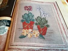 CROSS STITCH CHART AURICULAS PLANTED FLOWERS CHART ONLY