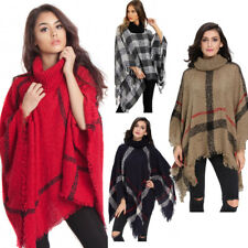 Women's Ladies Warm Winter Turtleneck Knitted Chunky Poncho Shawl Sweater Jumper