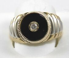 Round Onyx & Diamond Men's Solitaire Signet Ring 14k Yellow Gold 1.79Ct