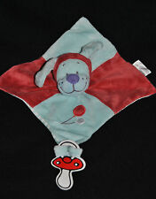 Doudou Chien Plat TEX Baby Vichy Carreaux Rouge Bleu Ballon Attache Tétine TTBE