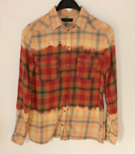 Diesel Ladies Shirt Tie Dye Look Yellow Orange Western Poppers Festival Size S/M