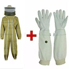 Double Zipper 3Layer Ultra Ventilated Bee Full Suit Round Veil+Gloves. Brown. XL