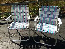 Vintage Aluminum White Blue Pink Teal Nylon Folding Lawn Chair Patio Beach