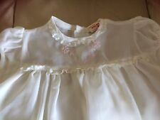White Lily,retro baby white terylene dress,short sleeves,lined,pink embroider