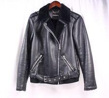 EXPRESS Black Faux Leather Furry Warm Motorcycle Biker Jacket Coat Women M