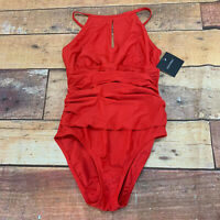 Ellen Tracy Swimsuit One Piece Red New NWT Size 12 K107