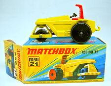Matchbox SF Nr. 21B Rod Roller gelb schwarze Bodenplatte top in Box