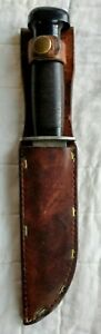 Vintage H Boker & Co USA Hunting Fixed Blade Knife, 9 1/2 inch blade and sheath