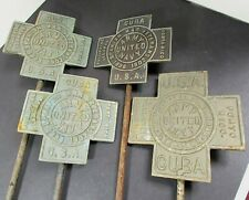 4 Spanish War Veteran Grave Marker Lot With Rods - Stamped 1898 1902