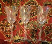 "Colony Crystal LILY OF THE VALLEY 7 1/4"" Wine Goblets Set of 3"