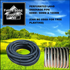 """2"""" 60mm x 25m  3""""80mm x 25m & 4"""" 100mm x 25m Perforated Land Drain Drainage Pipe"""