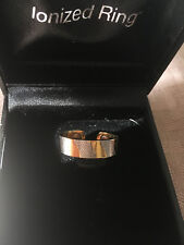 Q-Ray Stainless Steel Gold Ring - NEW IN BOX - Unisex - 2.75 in. circumference