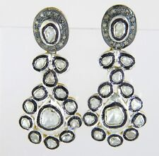 18K Gold & Silver 1.00ct Genuine Rose Cut Diamond Victorian Dangle Earrings
