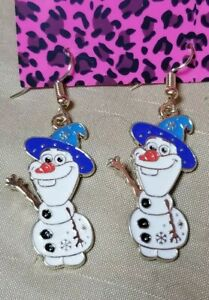 Five Pairs of 925 Sterling Silver Ear Wires Christmas Themed Snowman Earrings