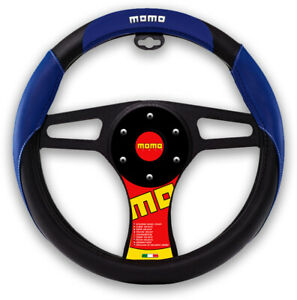 """New MOMO Blue Black Car Steering Wheel Cover PU Leather Size M 14.5"""" - 15.5"""""""