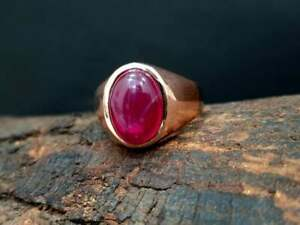 Beautiful Ruby Star Ring Oval Shape Gemstone 925 Solid Sterling Silver Ring